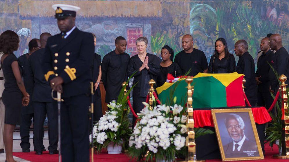 Foto: Imagen del féretro de Kofi Annan. (ONU)