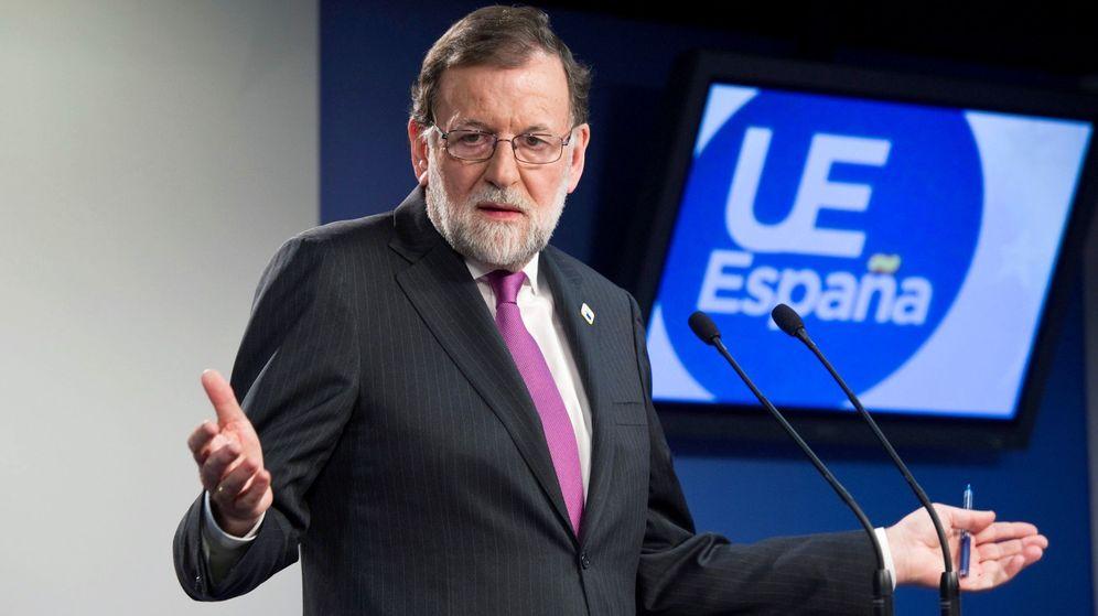 Foto: El presidente del Gobierno, Mariano Rajoy, durante la conferencia de prensa ofrecida en Bruselas. (EFE)