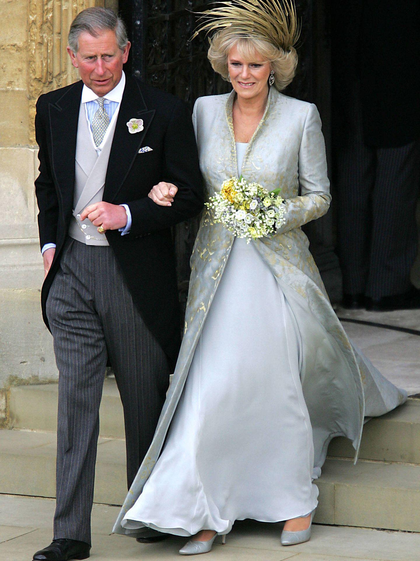 Carlos y Camilla, tras la ceremonia religiosa. (Getty)