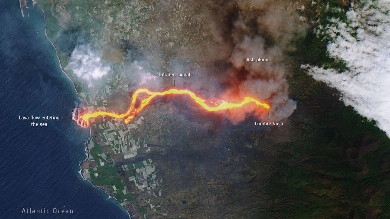 Imagen satelital de la erupción del volcán en La Palma (ESA)