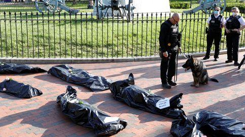 Decenas de vehículos en un cortejo fúnebre protestan frente a la Casa Blanca