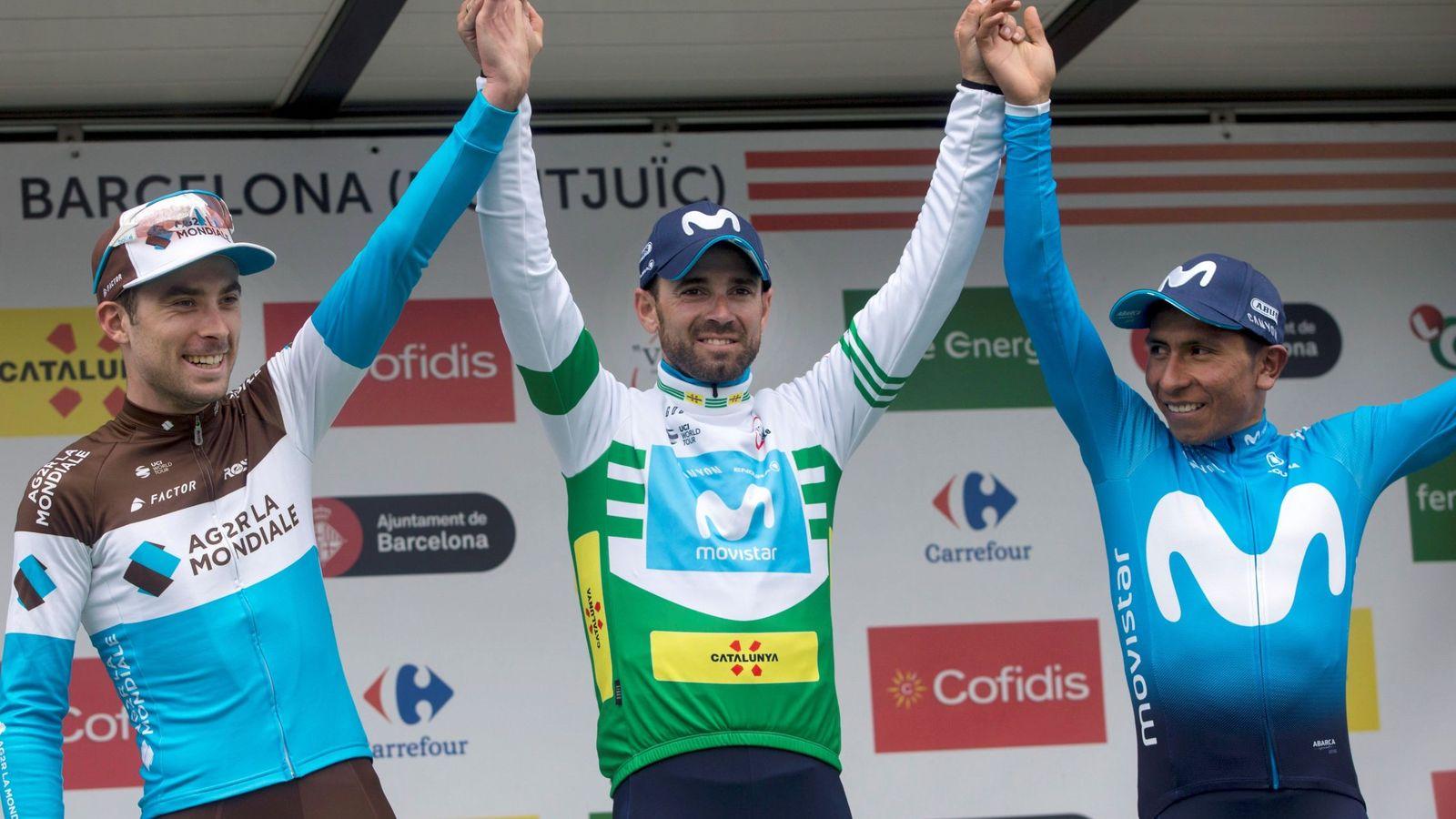 Foto: El podio final de la Volta a Catalunya, con victoria de Alejandro Valverde. (EFE)