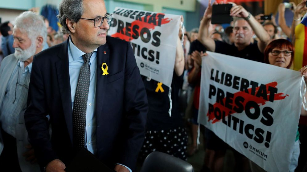 Foto: El presidente de la Generalitat de Cataluña, Quim Torra (izq), asiste a la clausura de la 50ª edición de la Universitat Catalana d'Estiu. (EFE)
