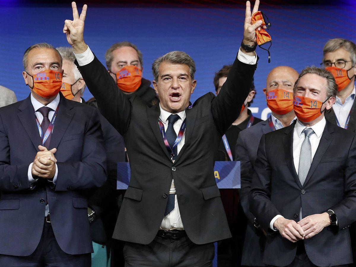 Foto:  Joan Laporta celebra su victoria electoral. (EFE)