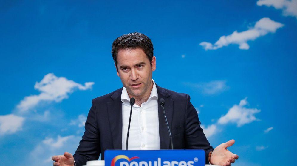 Foto: El secretario general del Partido Popular, Teodoro García Egea, durante la rueda de prensa. (EFE)
