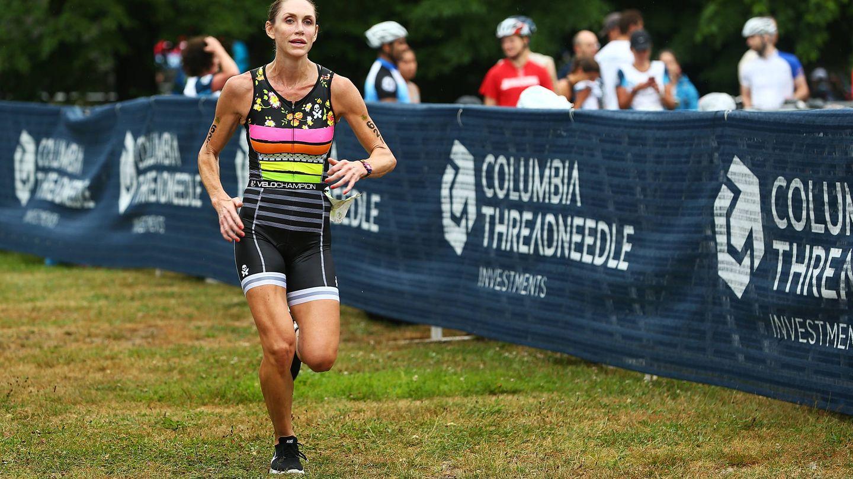 Lara Trump, corriendo el triatlón de Boston (Getty)
