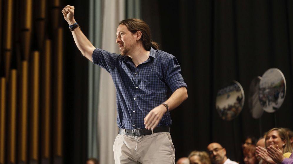 Foto: El secretario general de Podemos, Pablo Iglesias, durante un encuentro con los representantes de los círculos del partido de Madrid. (EFE)