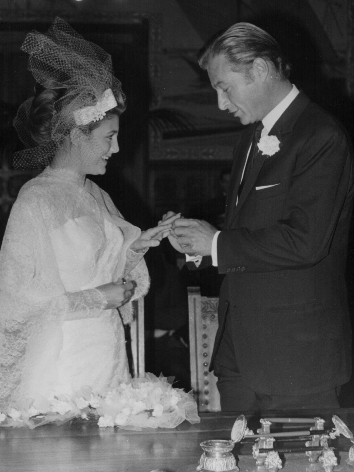 Boda de Lex Barker y Carmen Cervera en Ginebra en 1965. (Getty)
