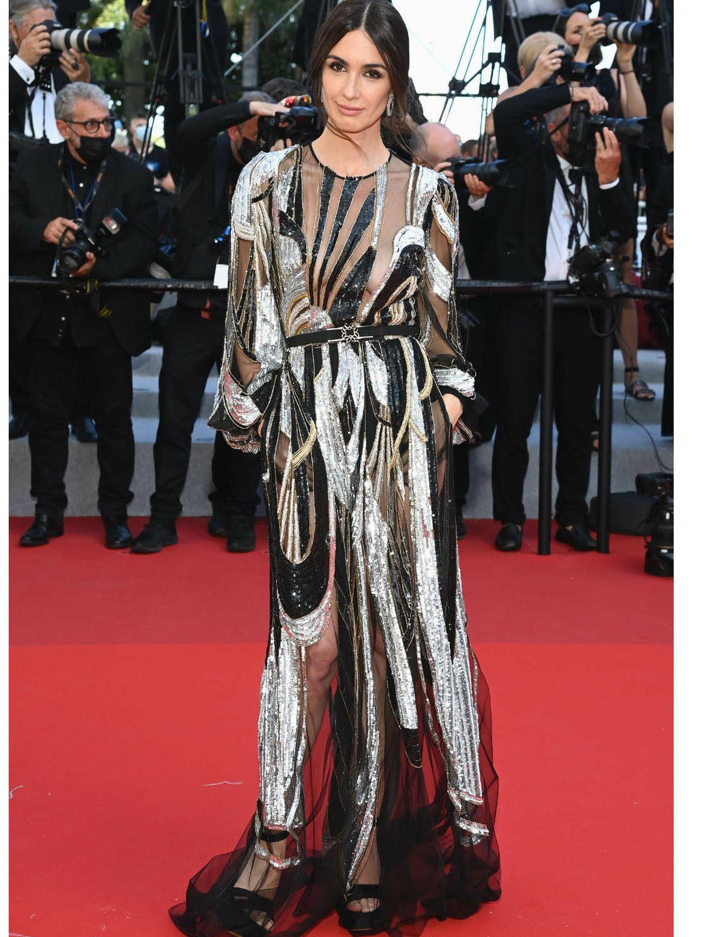 Paz Vega, vestida de Elie Saab en Cannes. (Getty)