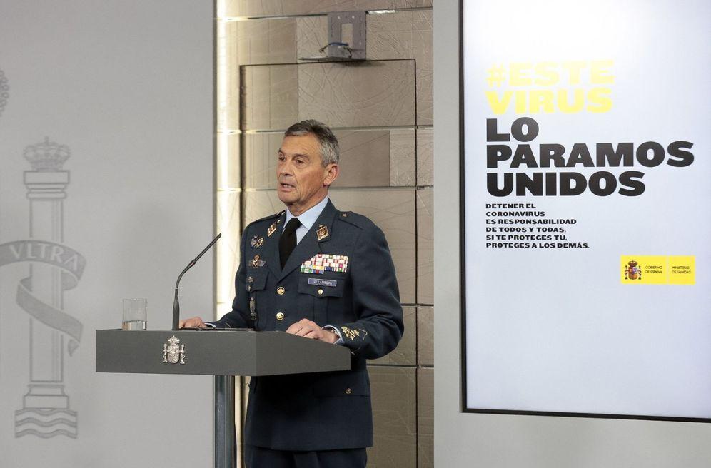 Foto: El jefe del Estado Mayor de la Defensa, Miguel Ángel Villarroya, este 20 de marzo en la Moncloa. (EFE)