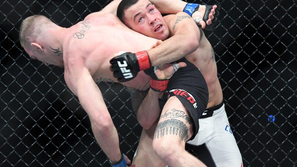Foto: Colby Covington intentado proyectar a un rival. (USA TODAY Sports)