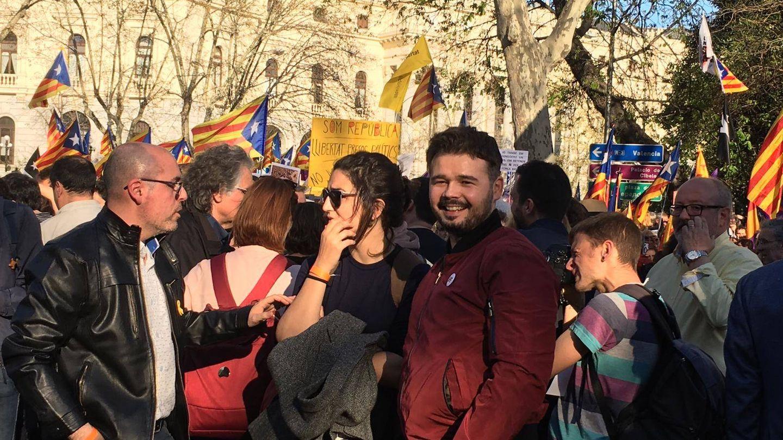 Rufián llega a Atocha. (Pablo Gabilondo)