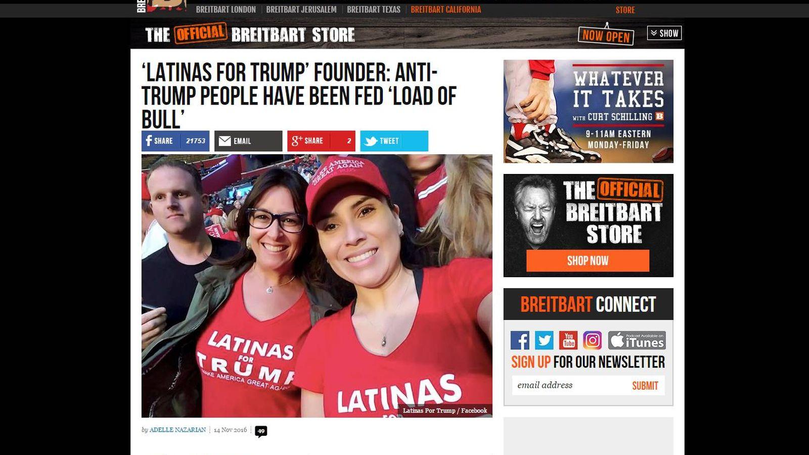 """Foto: Una de las historias de 'Breitbart', sobre las """"latinas por Trump""""."""