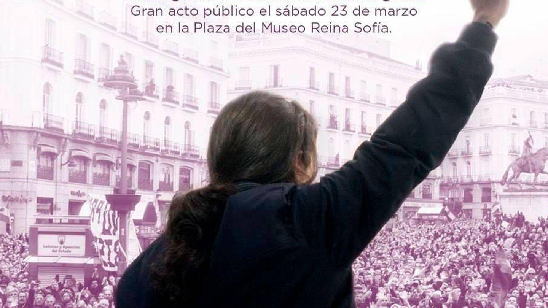 Cartel de Pablo Iglesias con Carmen Lomana. (Podemos)