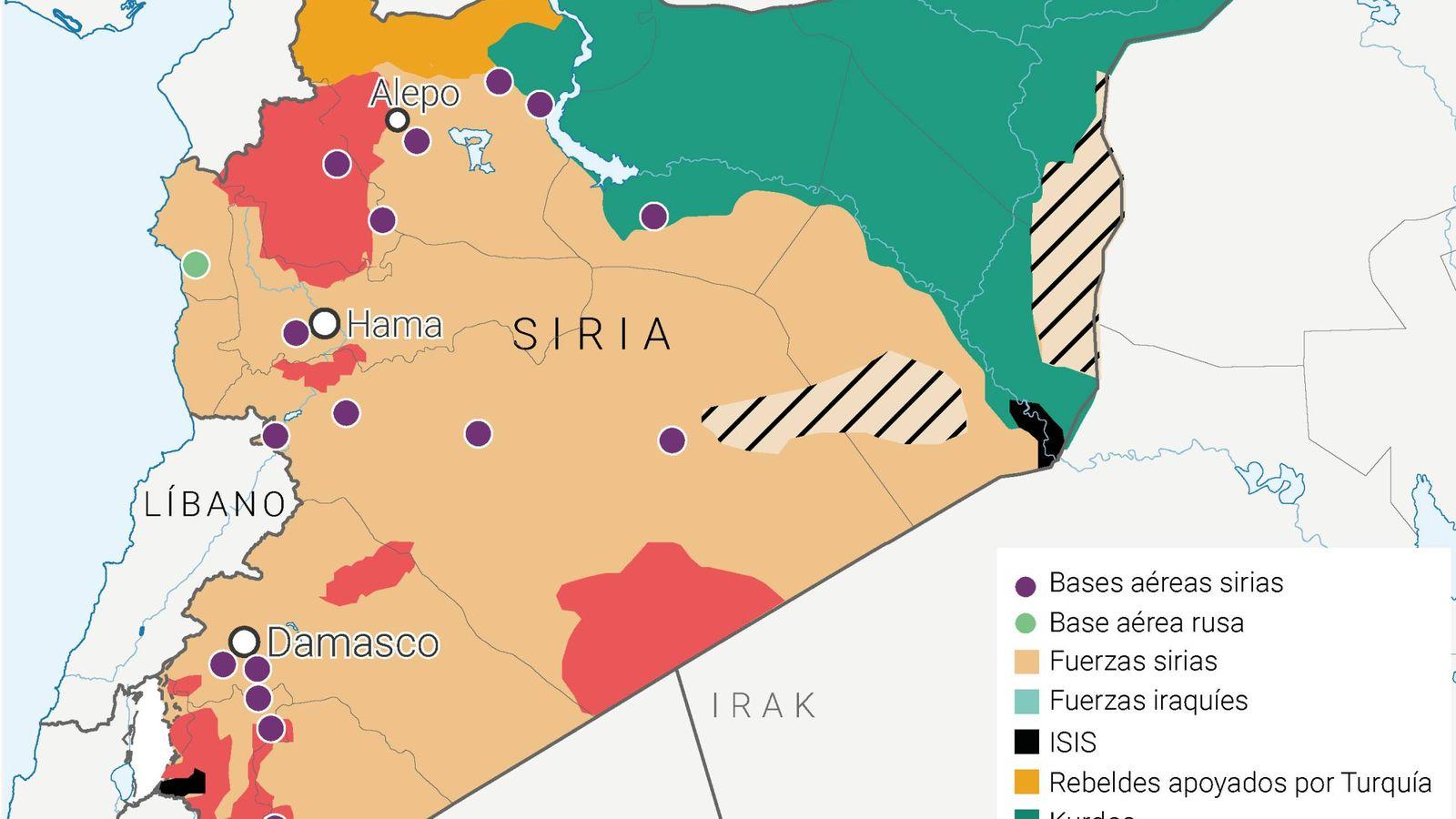 Foto: Mapa de las bases aéreas en Siria.