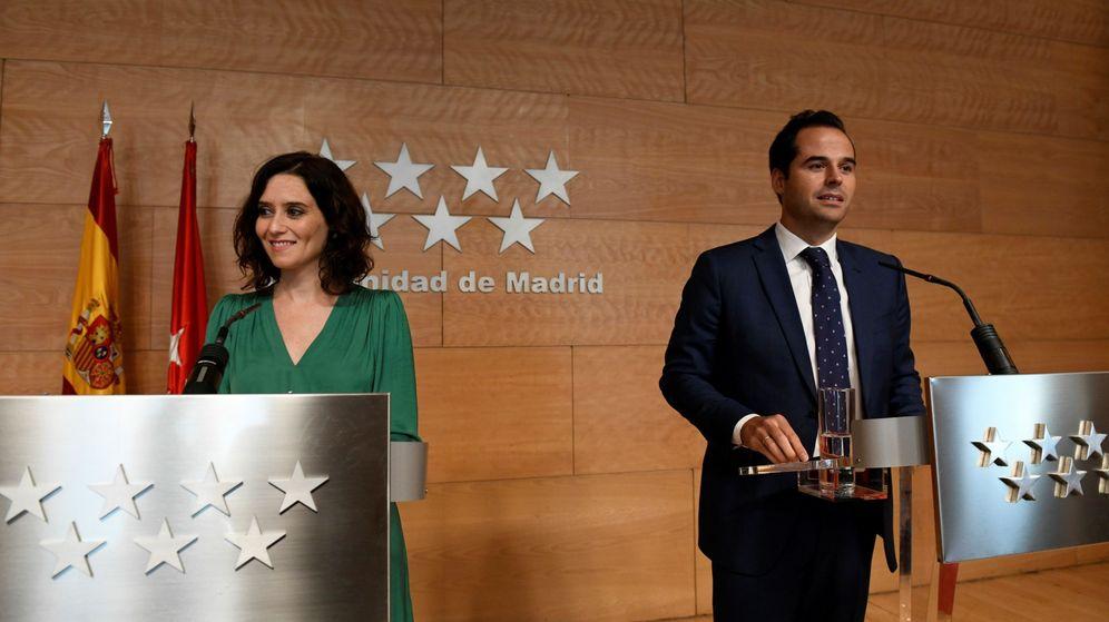 Foto: Isabel Díaz Ayuso e Ignacio Aguado, este martes en su primera rueda de prensa conjunta.