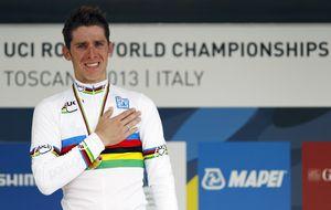 Rui Costa, campeón del mundo, seguido de 'Purito' y Valverde