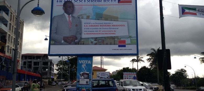 Foto: Uno de los carteles de Obiang en Malabo (Foto: JFD).