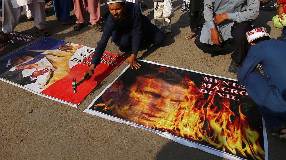 Foto: Protestas contra Francia y Macron en Karachi, Pakistán. (EFE)