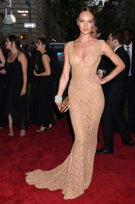 Model Candice Swanepoel attending The Metropolitan Museum of Art's Costume Institute gala celebrating 'China: Through the Looking Glass' on Monday, May 4, 2015, in New York.