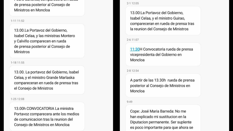 Ejemplo de los SMS que Moncloa suele enviar en su canal de notificaciones. El último mensaje es el de esta mañana.