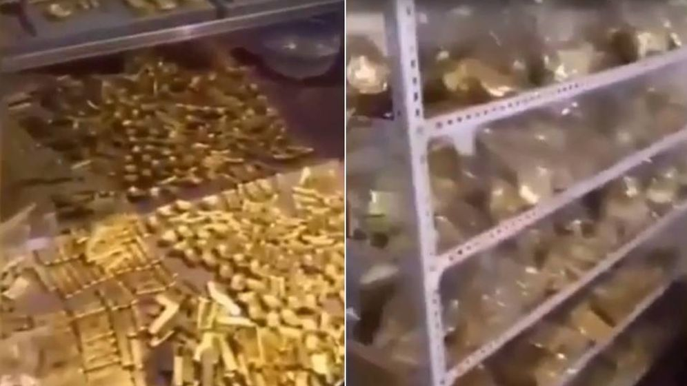 Foto: Captura de vídeo en el que se ve cómo recogen el oro de Zhang Qi. (CC/Youtube)