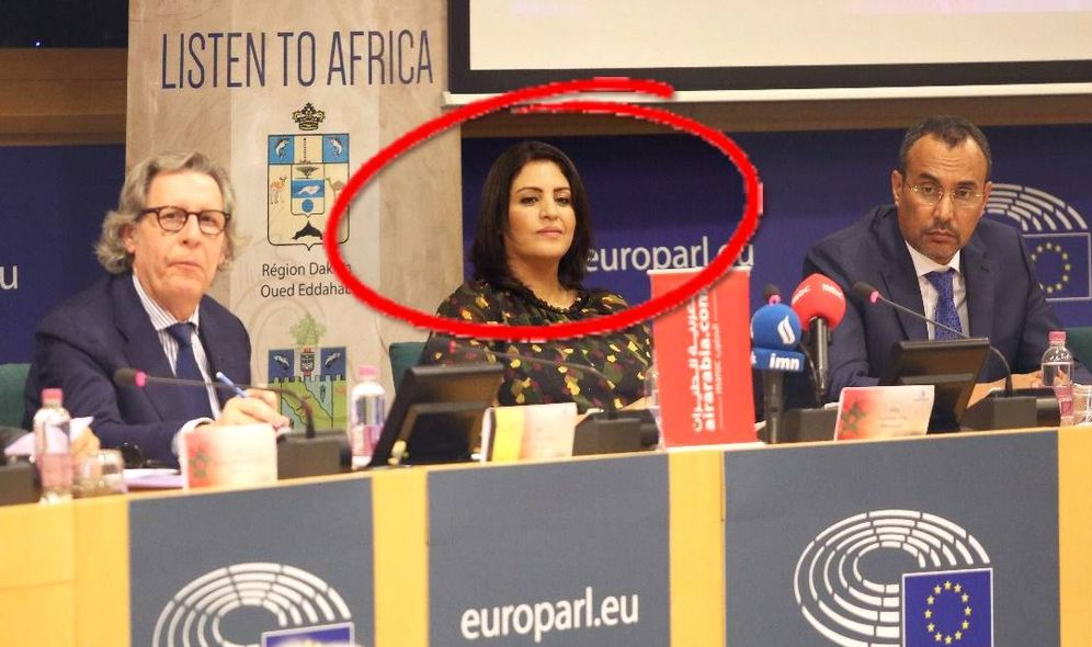 Foto: Kaoutar Fal, durante su comparecencia en el Parlamento Europeo.