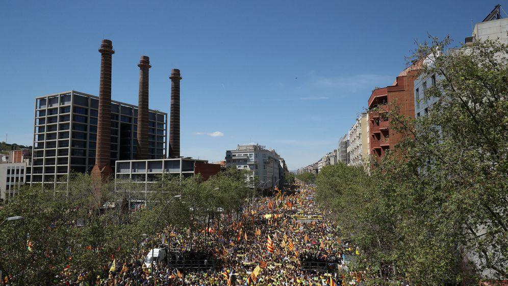 Foto: Vista aérea de la manifestación por la libertad de los políticos presos. (Reuters)
