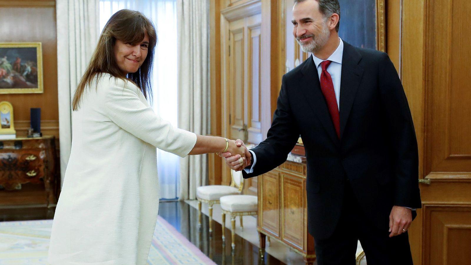 Foto: El Rey recibe a Laura Borràs en la Zarzuela, este 6 de junio. (EFE)