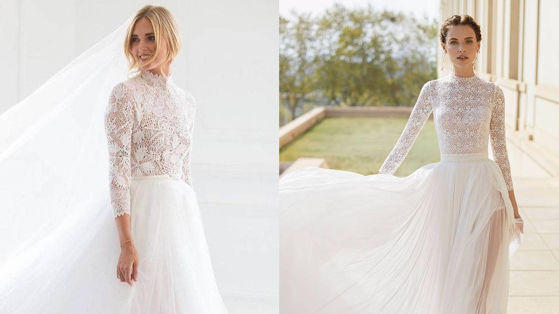 Vestido de novia de Chiara Ferragni / Vestido de Rosa Clará. (Instagram @chiaraferragni / Cortesía)