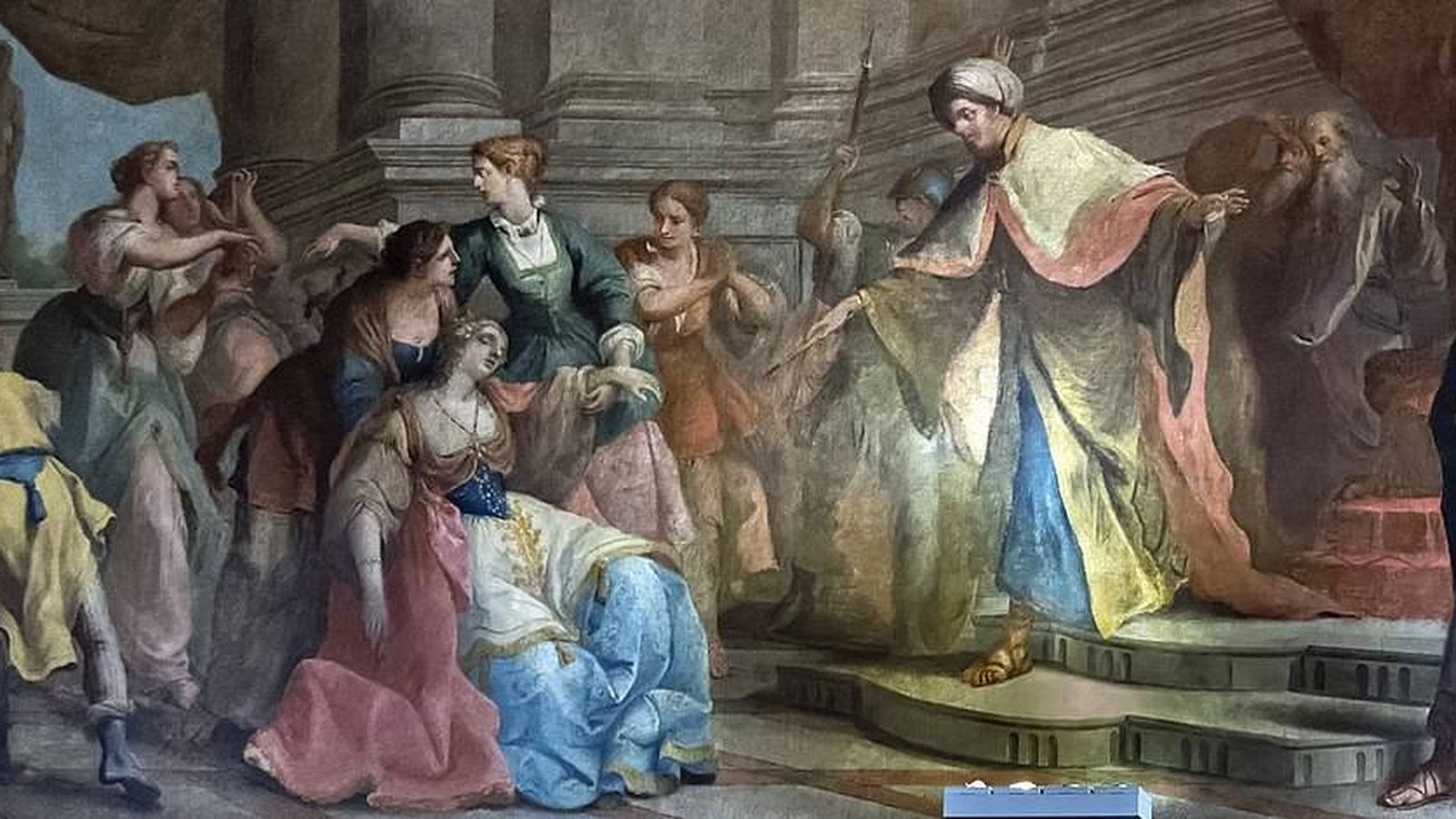 Foto: Santa Esther se desmaya ante Assuero. (Gaetano Zompini/C.C.)