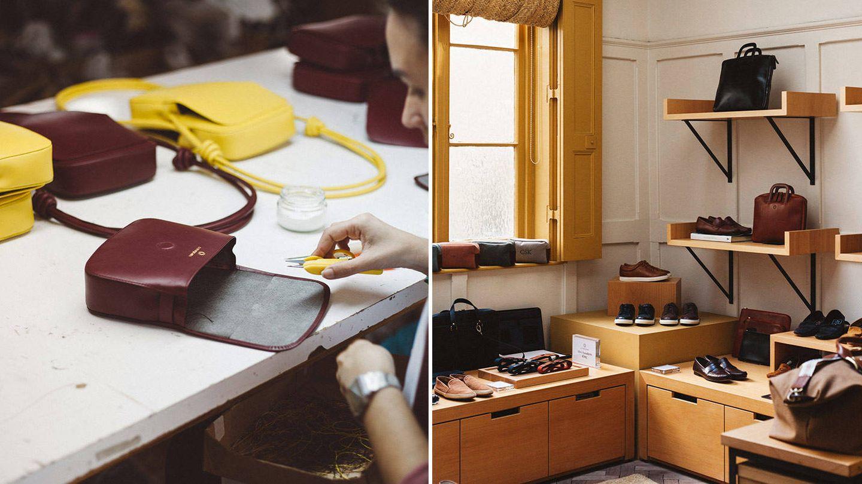 De Ubrique a Londres. Imagen de los procesos de fabricación de sus bolsos e interior de la tienda que La Portegna tiene en la capital británica.