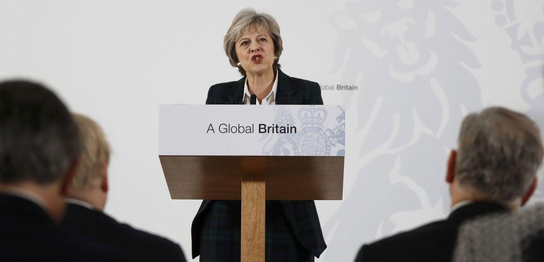 Foto: La primera ministra británica, Theresa May, durante su discurso en Lancaster House, Londres. (Reuters)