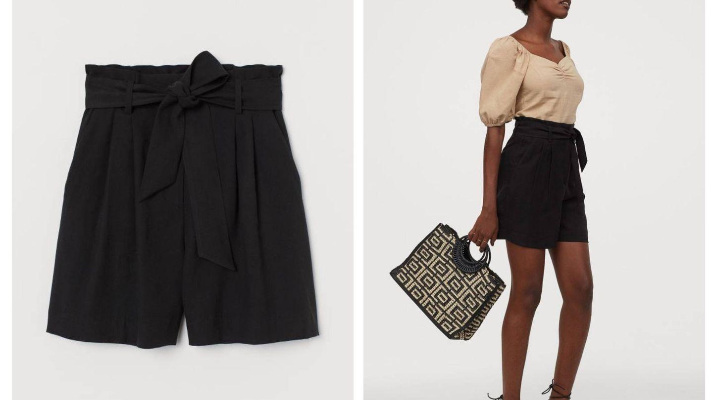 Un short 'paper bag' en color negro de HyM. (Cortesía)