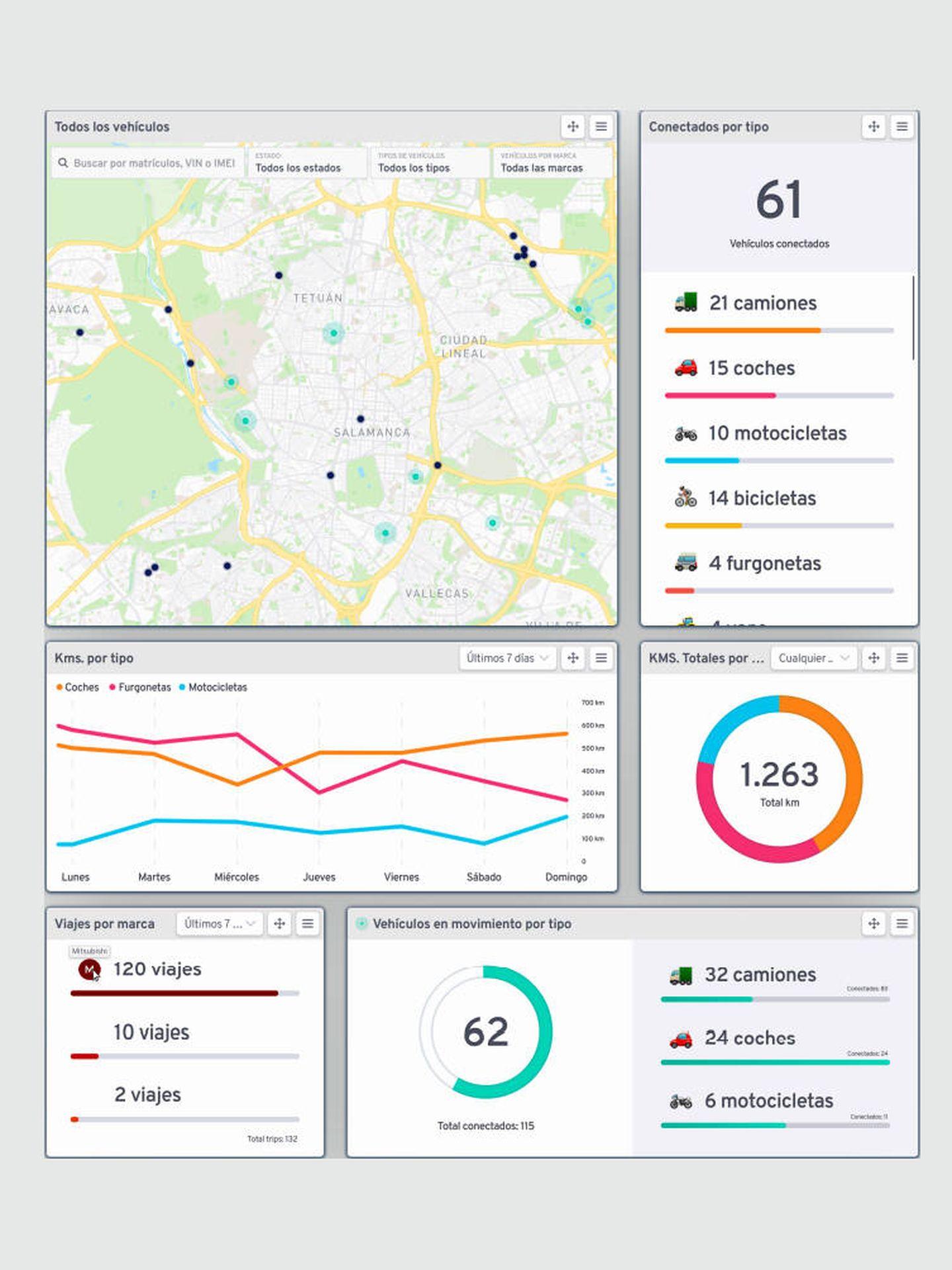 Los usuarios pueden acceder a multitud de información y detalles de todos los vehículos de su flota a través de una sola herramienta común.