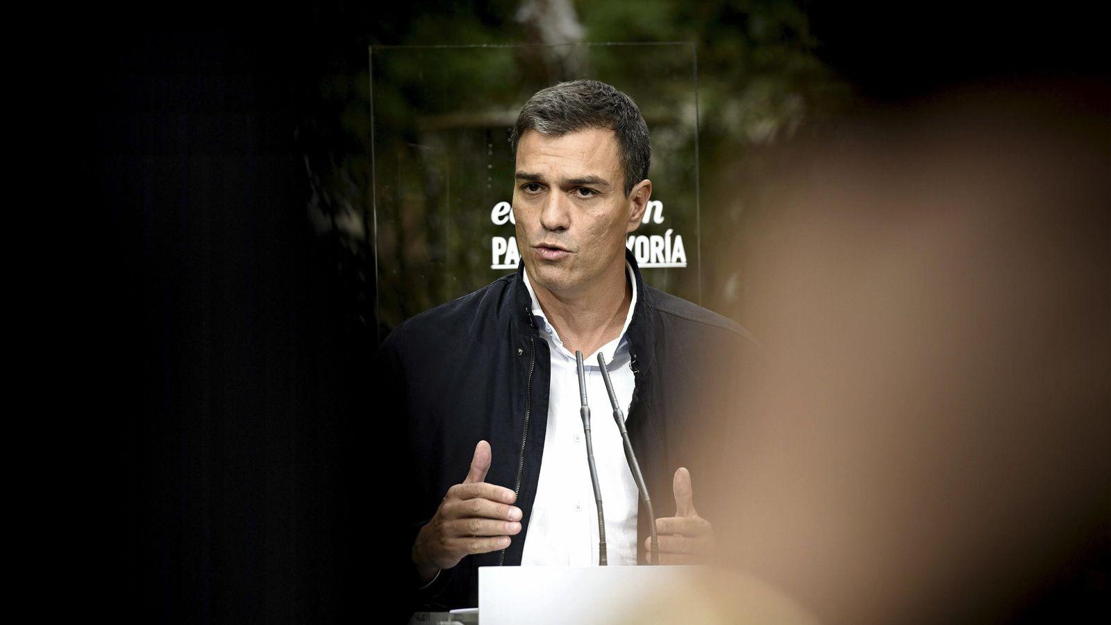 Foto: Pedro Sánchez, en la presentación, el pasado 7 de septiembre, del documento educativo del PSOE. (EFE)