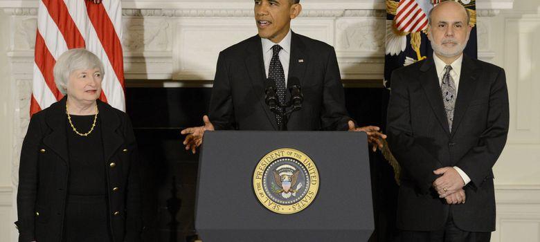 Foto: Yellen, Obama y Bernanke, en la presentación de la primera como candidata oficial para ser la próxima presidenta de la Fed