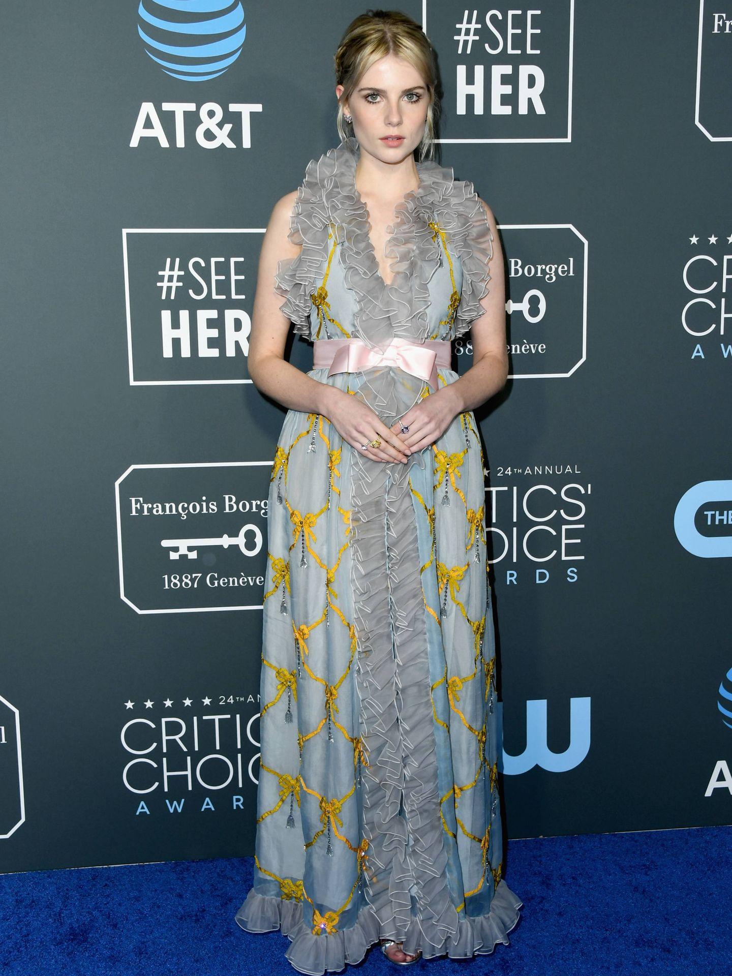Lucy Boynton durante el photocall de los Critic's Choice Awards. (Getty)