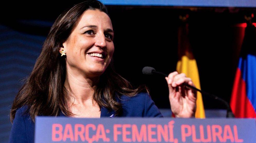 Foto: María Teixidor i Jufresa durante un acto del fútbol femenino del Barcelona