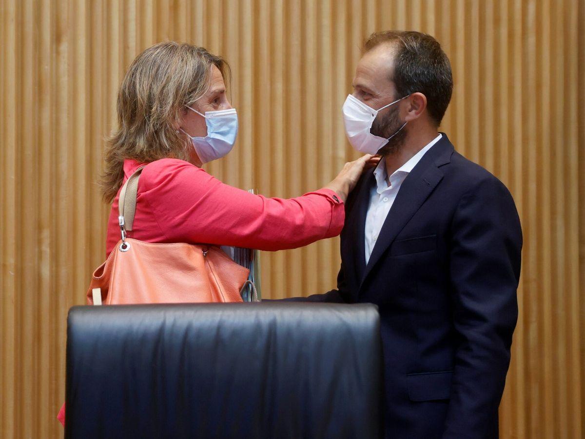 Foto: Teresa Ribera conversa con el vicepresidente primero de la Comisión de Transición Ecológica y Reto Demográfico del Congreso, Daniel Viondi. (EFE)