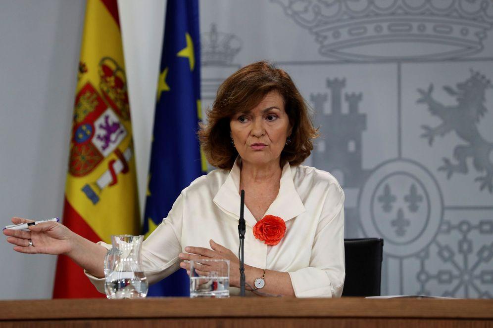 Foto: La vicepresidenta en funciones, Carmen Calvo, este 26 de julio en la Moncloa. (EFE)