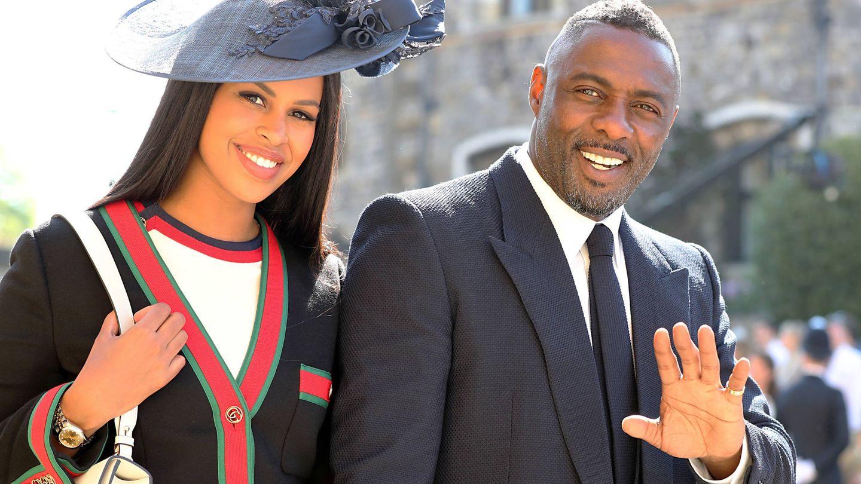 Idris Elba y Sabrina Dhowre, en la boda de Harry y Meghan. (Getty)
