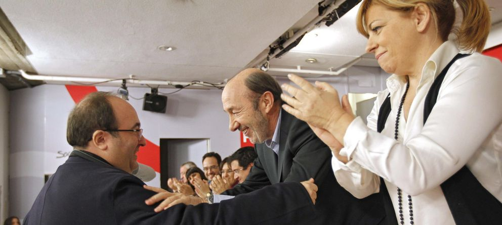 Foto: Miquel Iceta saluda a Alfredo Pérez Rubalcaba. (EFE)