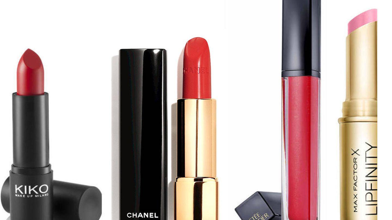 Smart Lipstick, de KIKO; Rouge Allure en tono Vibrante de Chanel; Pure Color Envy Sculpting Gloss 'Red Extrovert', de Estée Lauder; Lipfinity Long Lasting Lipstick, de Max Factor.