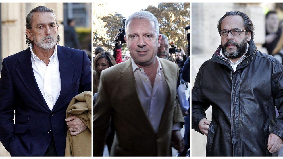 Foto: Correa, Pablo Crespo y Álvaro Pérez. Los tres están procesados por la financiación ilegal del PP valenciano.