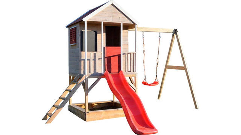 Casa de juegos infantil de madera con columpio Wendi Toys