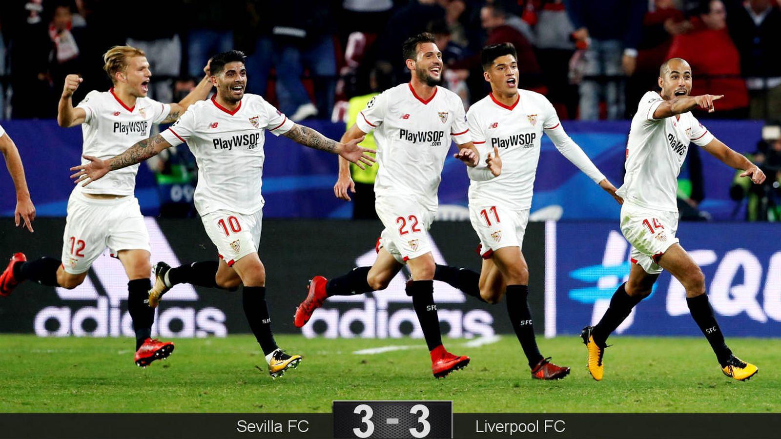 Foto: Jugadores del Sevilla celebran el gol de Pizarro que supuso el empate. (Reuters)