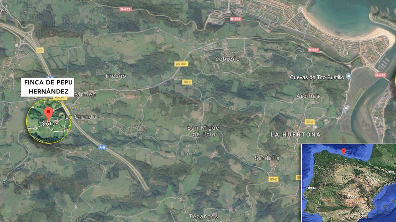 Vista área de las propiedades de Pepu en la zona de Ribadesella
