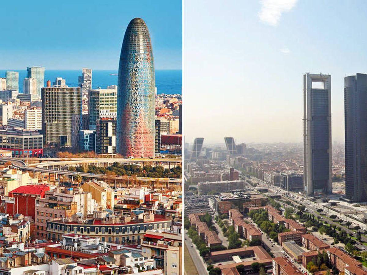 Foto: 'Skylines' de Barcelona y Madrid. (EFE)