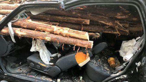 Salva la vida después de que decenas de troncos atraviesen su coche